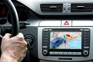 10358976 - car dashboard with gps panel, travel and technology background