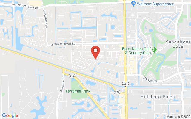 Google map image of location SW Sandalfoot Blvd, Boca Raton, FL 33428, USA